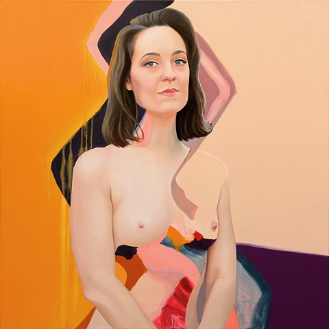 Nude portrait of Australian Queer Activist Sally Rugg set among abstract strokes of yellow, gold, purple, pink and navy blue.