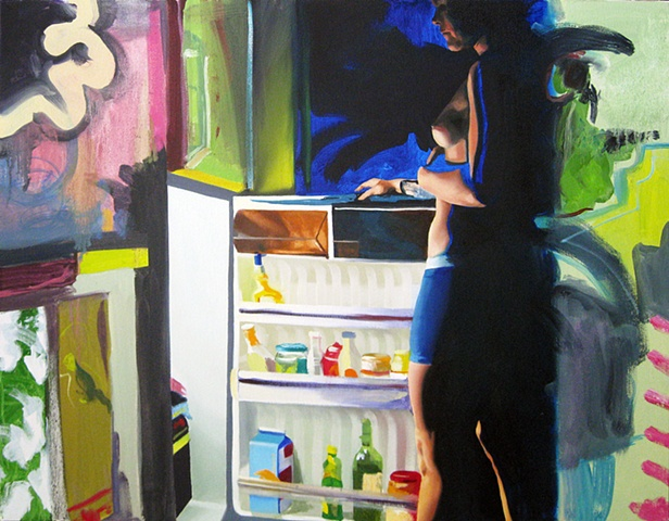 Painting of a nude lesbian woman standing in front of the kitchen refrigerator with an abstract pattern.