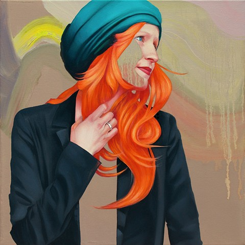 Woman with orange hair wearing a suit jacket and blue hat with neutral abstract background.