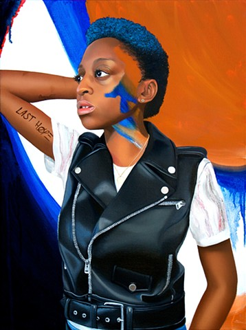 Painted realism portrait of Jess Guilbeaux, a strong, black lesbian woman with ultramarine blue and ochre abstract background.