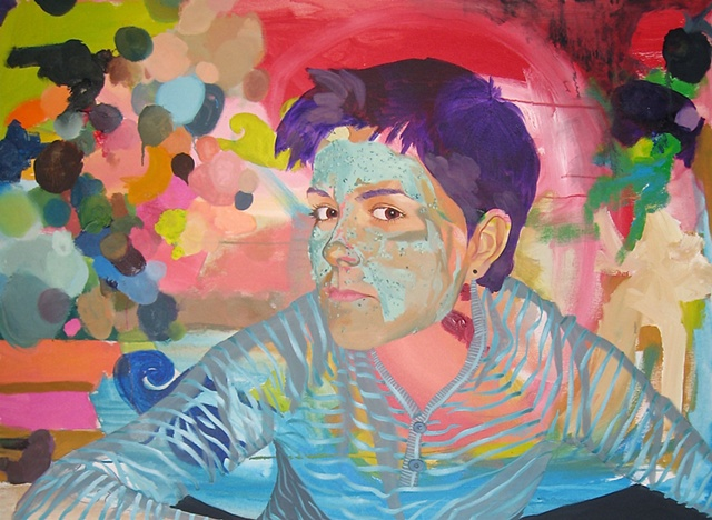 Painting portrait of a lesbian woman with an abstract geometric pattern.