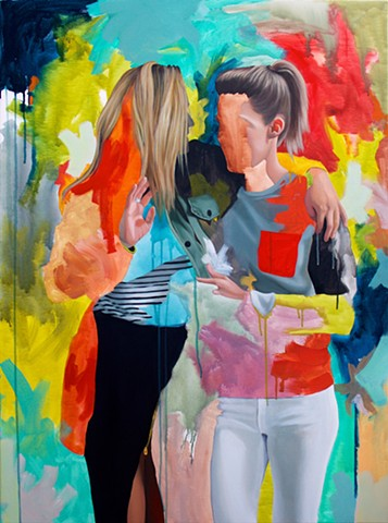 Lesbian couple with realistic hands, hair and clothing over bright, layered abstraction.