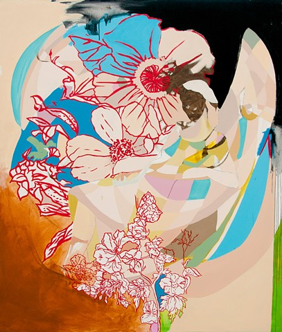 Painting of a lesbian woman with an abstract floral pattern.
