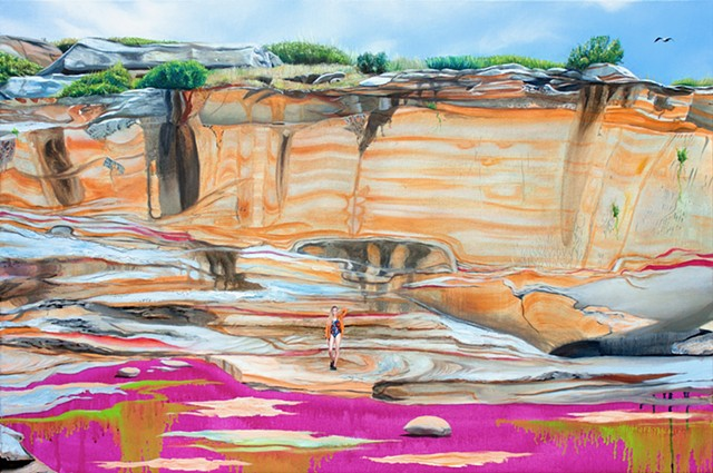Painting of a blonde woman in an orange short and Gorman bathing suit standing in front of the cliff of Bare Island at Kamay Botany Bay.
