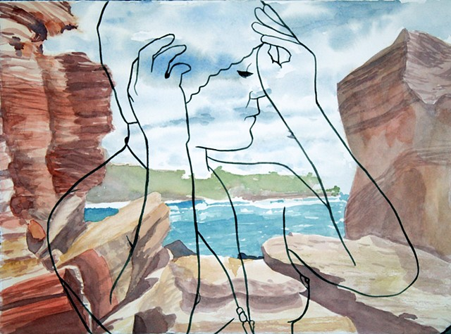 Wylie's Baths Sydney seascape with illustration of nude lesbian woman.