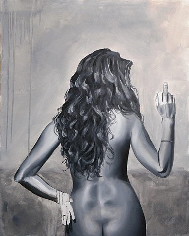 Monochromatic black and white painting of nude lesbian woman giving the finger.