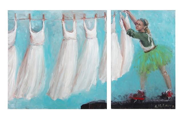 Hanging a line of wedding dresses up