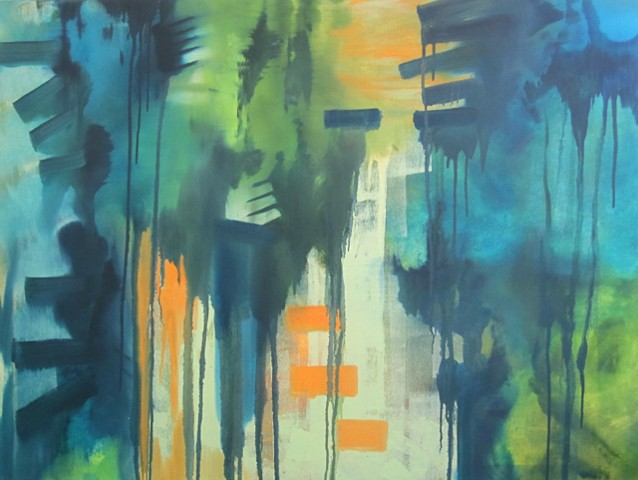 fine art abstract oil painting lakewood texas Laura Moore abstract expressionism