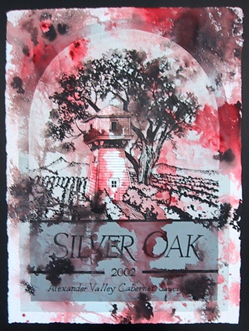 fine art mckinney texas wine label paintings Laura Moore Silveroak