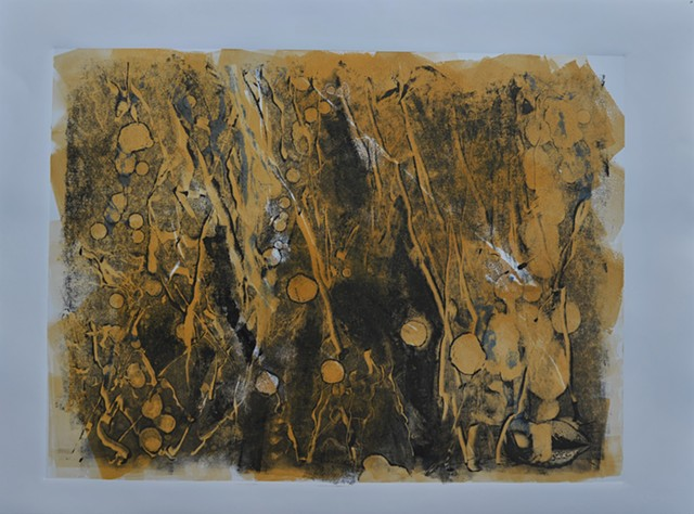 mono print on paper of imaginary imagery