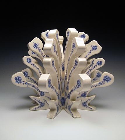 Porcelain sculpture with vintage decals