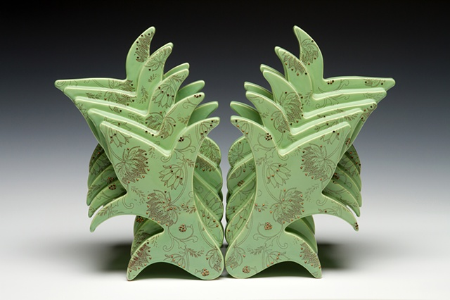 green porcelain sculpture with decals and vintage thinestones