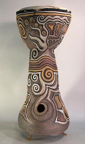 ceramic drum sculpture