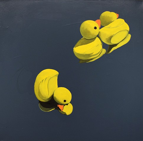 Rubber ducks. Reflections. Oil painting. Adam Umbach.