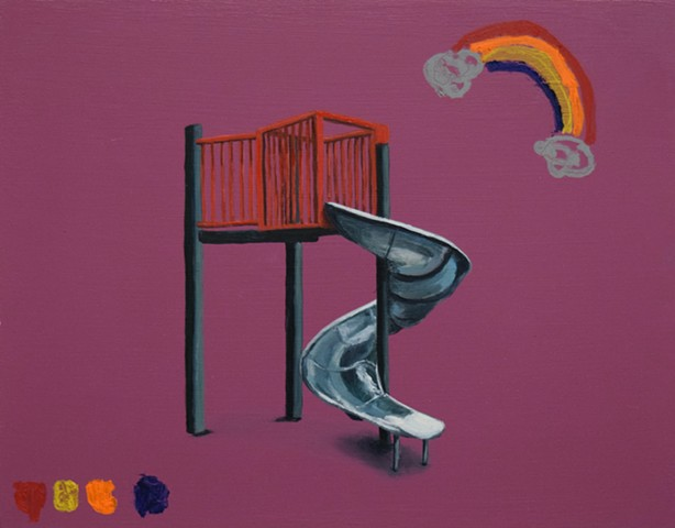 NYC playgrounds. Oil painting. Adam Umbach