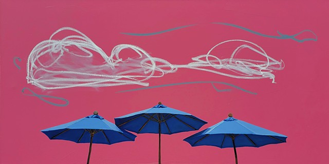 Sunshade. Umbrellas. Oil painting. Adam Umbach.