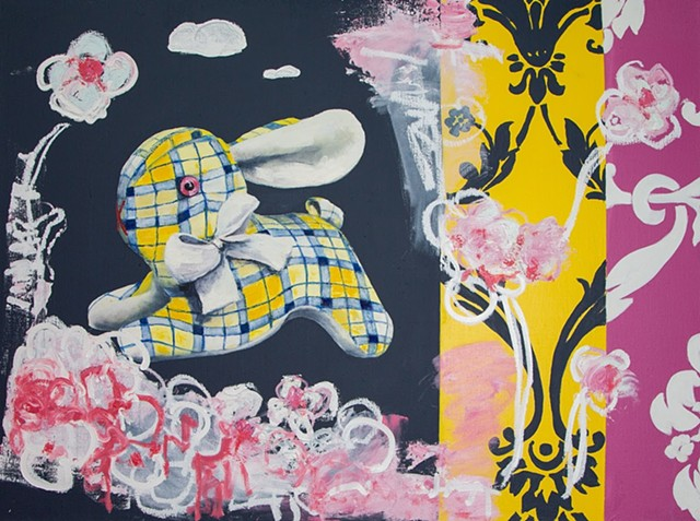 Mr. Bunny. Flower picking. Oil painting. Adam Umbach.