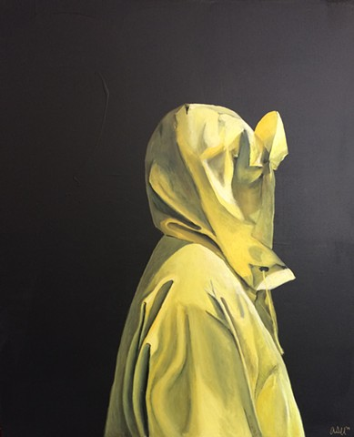 rain slicker, yellow, Islesboro, Maine, oil, painting, oil painting, raincoat painting, black