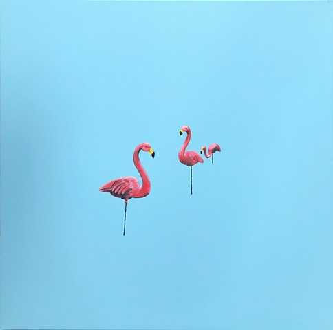 Lawn ornaments. Lawn flamingo. Oil painting. Adam Umbach.