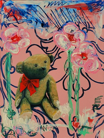 Teddy bear. fields of flowers. Oil painting. Adam Umbach.