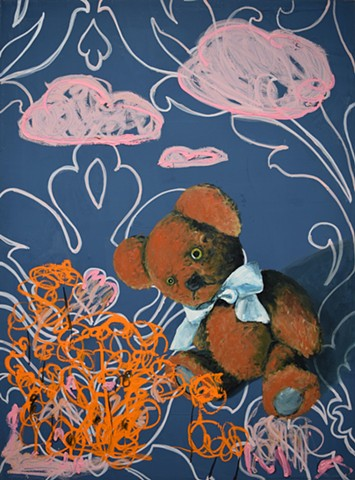 Pink Clouds. Teddy Bear. Oil painting. Adam Umbach.