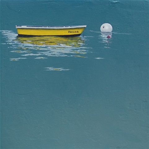 dingy, yellow, blue, mooring ball