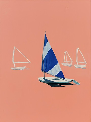 Sea sails. Sunfish sailboat. Oil painting. Adam Umbach.
