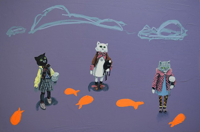 Girl Gang. French cats. Oil painting. Adam Umbach.