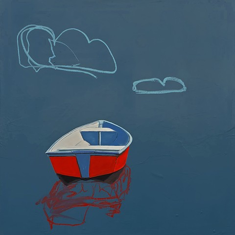 Drifting boat. Red boat. Oil painting.Adam Umbach.