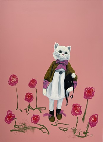 Rose Garden. French cat.  Oil painting. Adam Umbach.