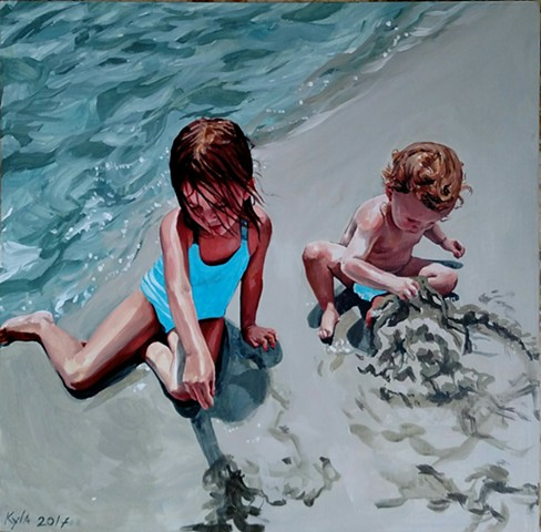 Oil painting of my sister's children playing in the sand at the bay. Girls by the ocean.