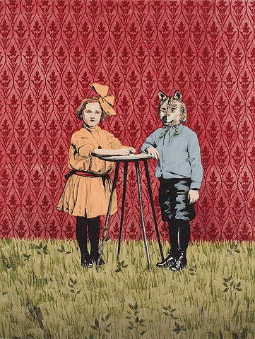 Girl meets wolf at a table in the woods. Printmaking, lithography, woodcut, woodblock, screenprint, silkscreen, serigraph