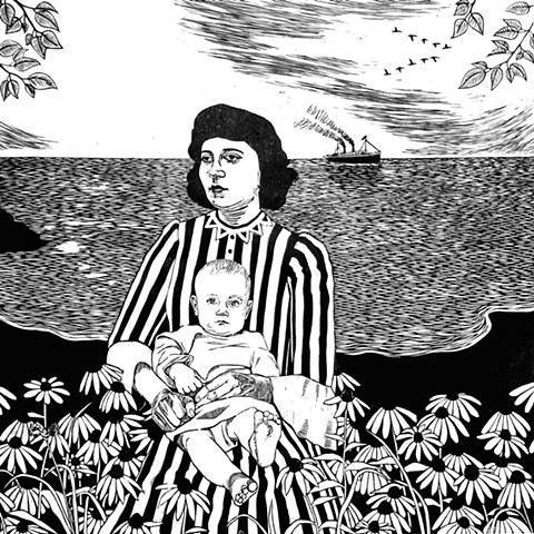 Woman sits by ocean with child in lap and immigrant steamship and birds in background.