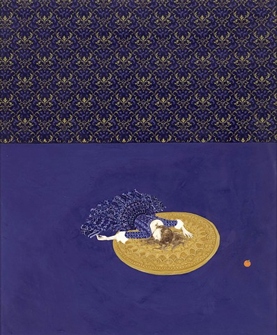 Girl falls on blue floor in middle of golden rug. Patterned floor, fairytale setting