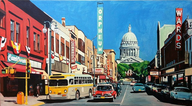 A commissioned piece based on a photograph of 1950's Madison, WI.