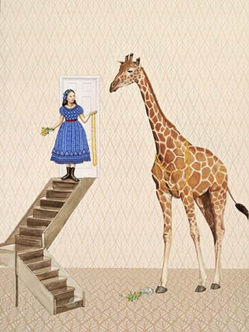 Girl offers flower necklace to giraffe. Kyla Zoe Rafert. Surreal