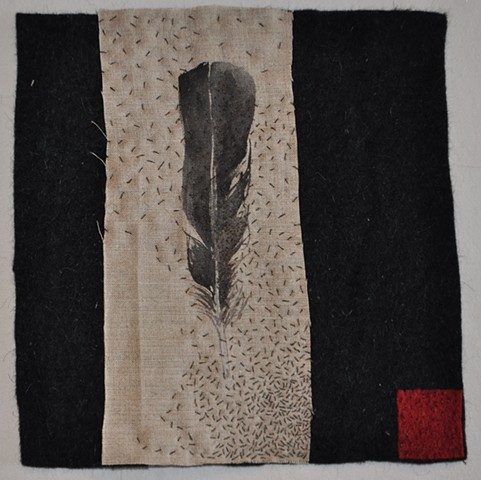 Crow Feather Stitched Assemblage