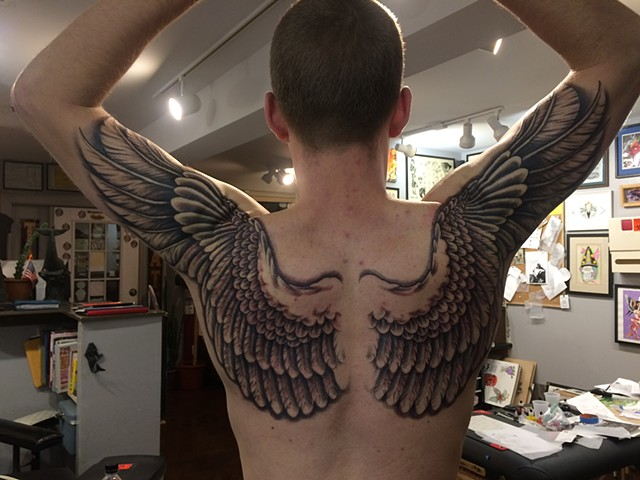 wings, shading, feathers, black and grey, Provincetown tattoo, Cape Cod tattoo, Ptown tattoo, truro, wellfleet, custom tattoo, coastline tattoo