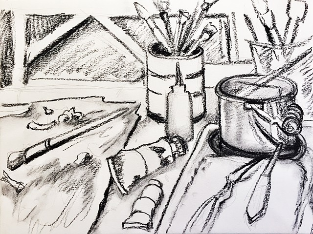a drawing of my oil painting set-up in the studio