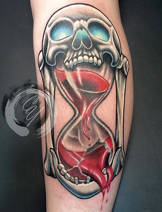 Crucial Tattoo Studio Maryland Custom Tattoos Skull Hourglass