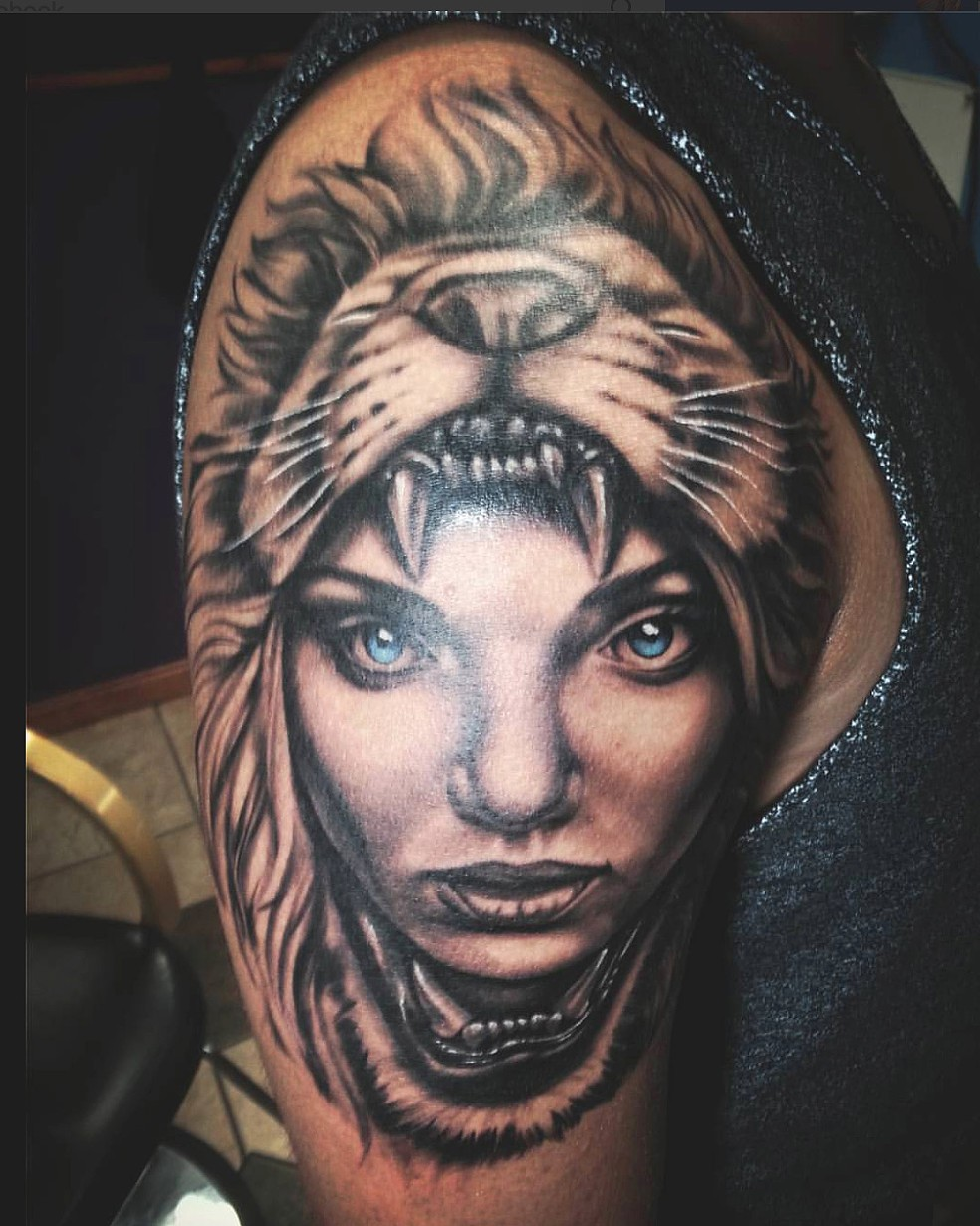 Crucial Tattoo Studio Maryland Custom Tattoos Lion Headdress Girl