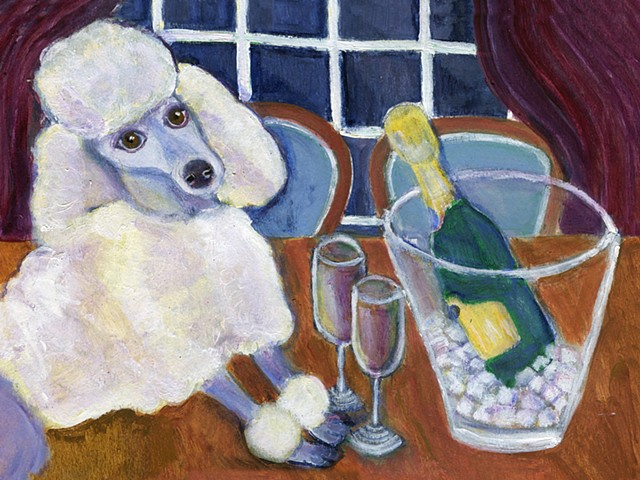 A gray poodle sits next to a champagne bucket in front of a window.