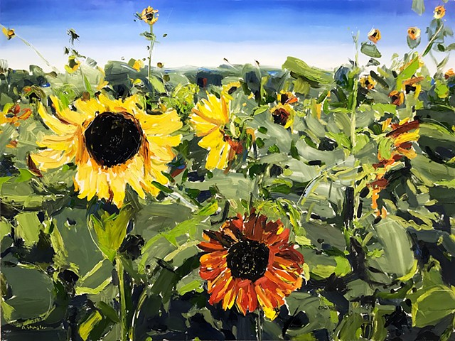 "'Sunflowers. Raleigh NC' 30""x40"" Oil on wood"