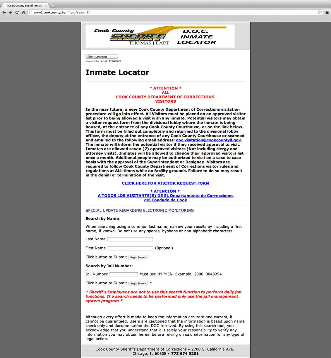 cook correction county department inmate locator sheriff