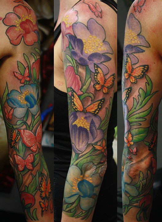 5f8c63630 Blind Tiger Tattoo - Butterfly, flower sleeve