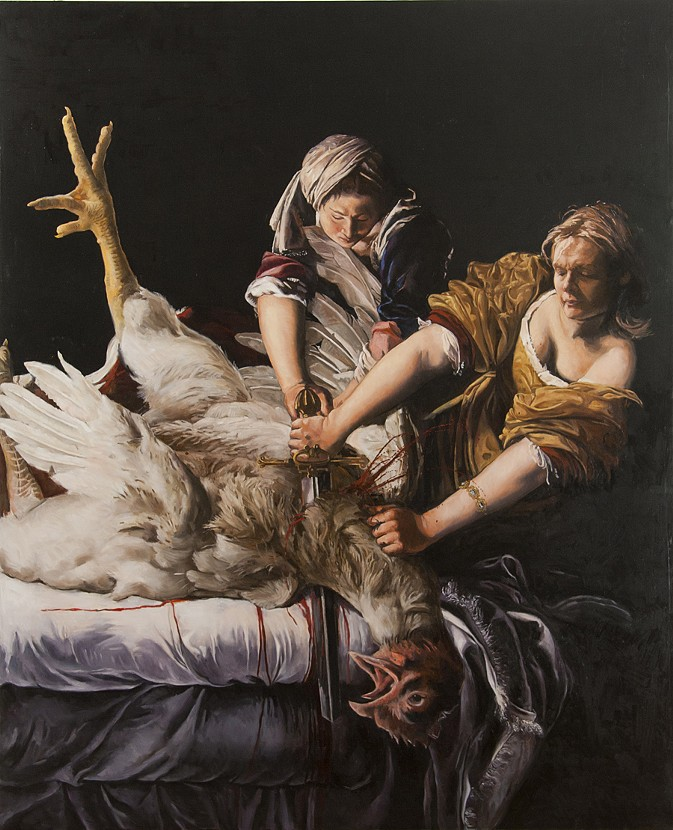 Kathleen Gilje - Self Portrait Slaying a Rooster after